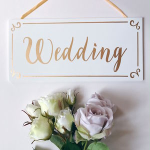 Wedding Hanging Plaque Gold And White - outdoor wedding signs