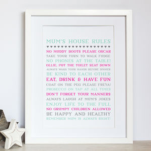 Personalised Mum's House Rules Print - typography