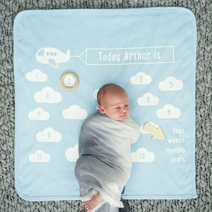 Personalised Little Aeroplane Baby Blanket Set - sleeping