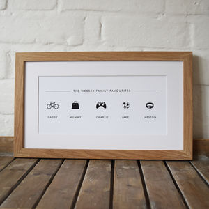 Personalised Family Favourites Icon Print