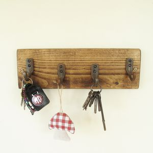 Wooden Key Rack - hooks, pegs & clips