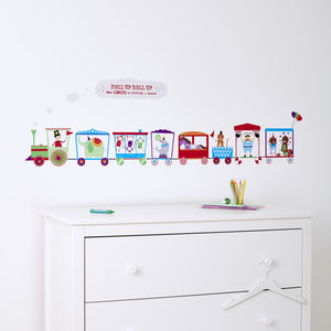Personalised Children's Circus Train Wall Sticker - wall stickers