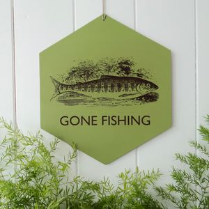 'Fishing' Personalised Leather Sign Wall Hanging