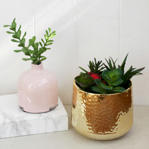Gold Hammered Effect Indoor Planter