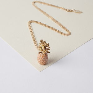 Pineapple Necklace With Gold Leaves