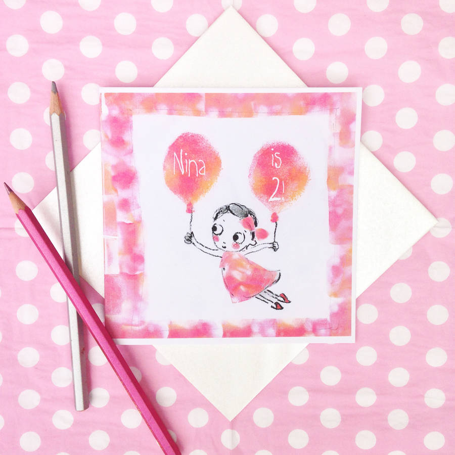 Personalised Girl's Birthday Card