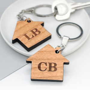 Set Of Two Personalised New Home Key Rings - housewarming gifts