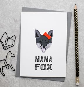 Mama Fox Mother's Day Card With Felt Bow - mother's day cards