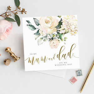Mum And Dad Wedding Card | Watercolour Rose