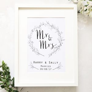 Botanical Wreath Wedding Anniversary Print - personalised wedding gifts