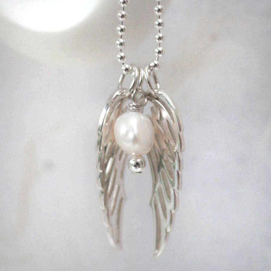 shown charm on angel model guardian wing wings chain dogeared silver sterling a necklace