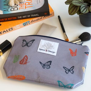 Curious Butterfly Midnight Grey Make Up Bag - winter sale
