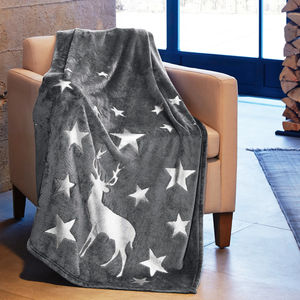 Metallic Christmas Stag Blanket - home sale