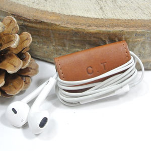 Personalised Leather Earphone Case - monogrammed gifts