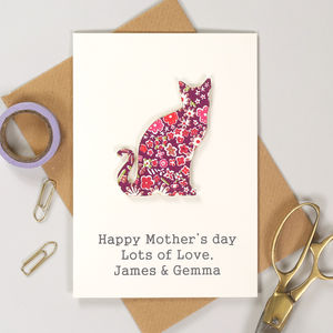 Personalised Mother's Day Liberty Cat Card