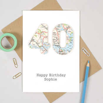 Map Location Special 40 Age Birthday Card