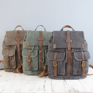 Military Style Waxed Canvas Backpack - womens