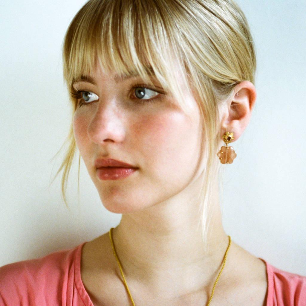 Sylvie Peach Moonstone Ruby Earrings