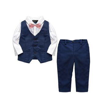 Baby Boy's 2pc Formal Christening Navy Wedding Suit