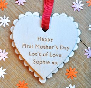 Personalised First Mother's Day Heart - finishing touches