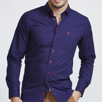Men's Navy Anchor Print Slim Fit Shirt