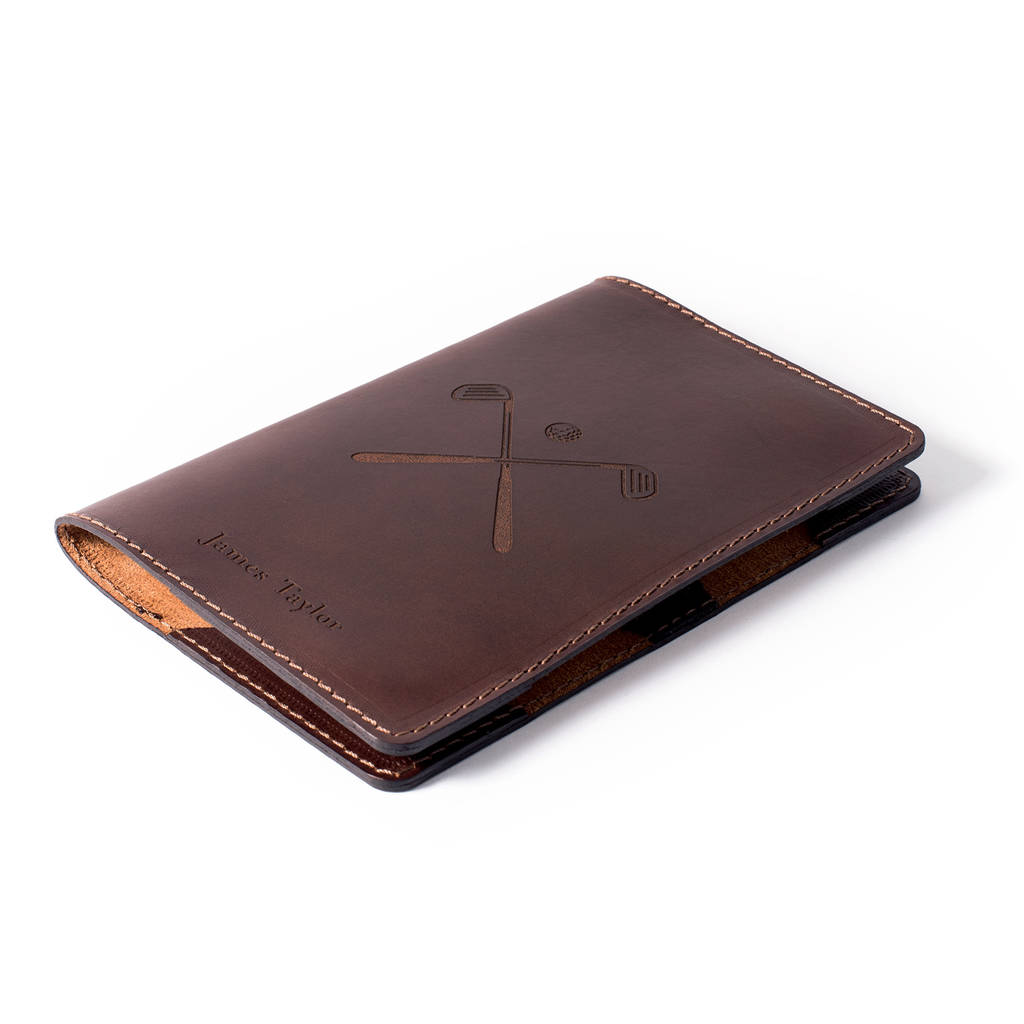 Dark Brown Personalised Leather Golf Scorecard Holder Front