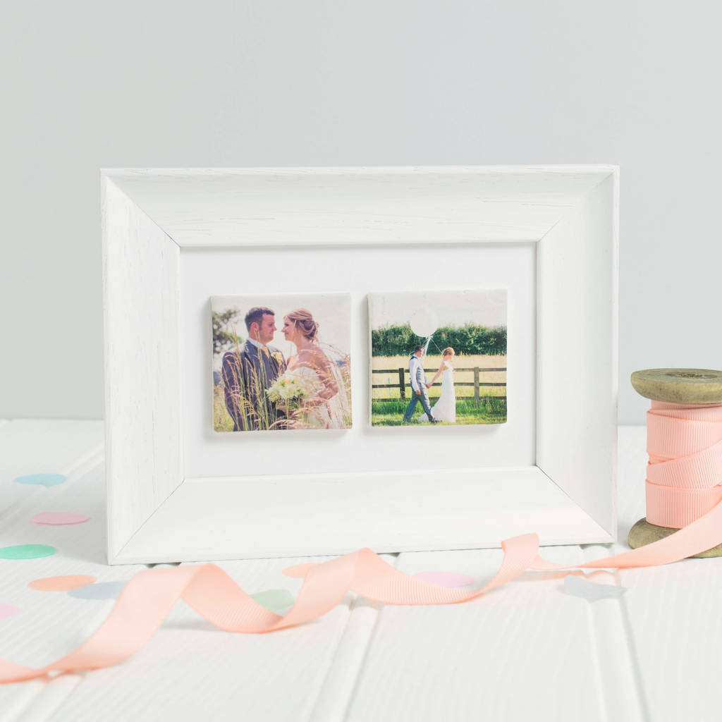 9th Wedding Anniversary Gift.Personalised Framed Wedding Anniversary Photo Tiles