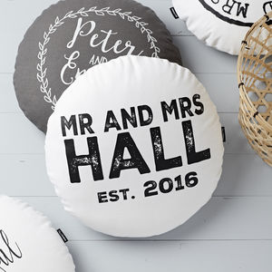 Personalised Round Wedding Cushion - summer sale