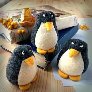 Handmade Collectable Felt Penguin Paperweight