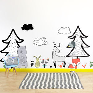 Nordic Woodland Scene Wall Stickers
