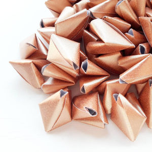 50 Metallic Rose Gold Origami Heart Love Messages - wedding favours