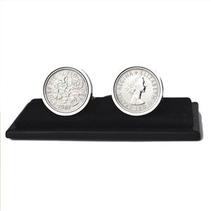 Genuine Polished Lucky Sixpence Cufflinks