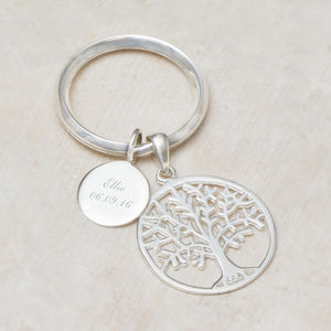 Asta Sterling Silver Tree Of Life Personalised Key Ring - personalised gifts for mums