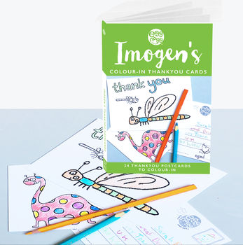Personalised Colour In Thank You Card Book