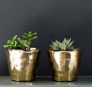 Hammered Gold Plant Pot - kitchen accessories