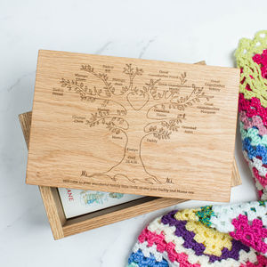 Personalised Wood Keepsake Box Family Tree - personalised