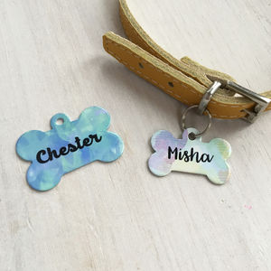 Watercolour Dog ID Name Tag Bone Personalised - pet tags & charms