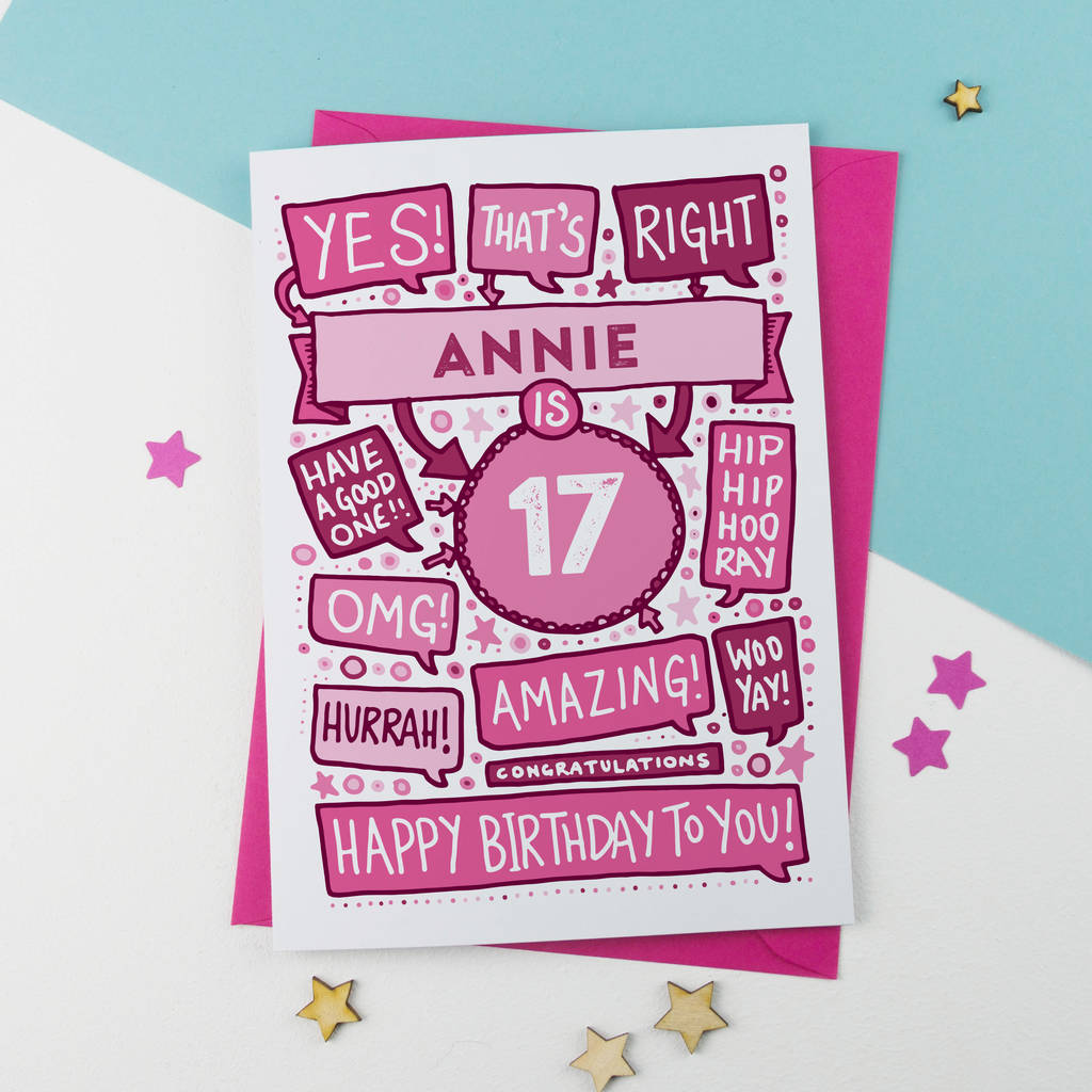 17th thats right personalised birthday card pink by a is for
