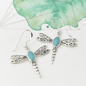 Silver Gemstone Dragonfly Earrings - earrings