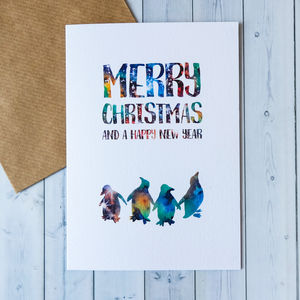 'Merry Christmas And New Year' Celestial Penguin Card