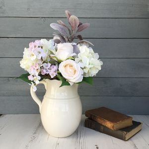 Pastel Hydrangea And Rose Faux Flower Bouquet - flowers, plants & vases