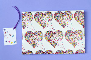 Butterfly Heart Gift Wrap And Tag - other labels & tags