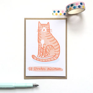 '10 Strokes Minimum' Cat Greeting Card - shop by category