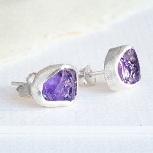 High Quality Amethyst Stud Earring Rough Cut - birthstone jewellery gifts