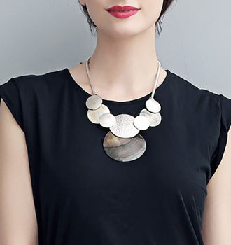 Silver Circles Statement Necklace
