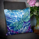 Dragonfly Lily In Fuchsia Luxury Floral Velvet Cushion