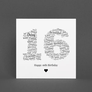 Personalised 16th Birthday Gift Print
