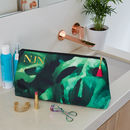 Personalised Monstera Leaf 'Big Trip' Wash Bag