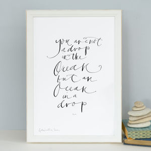 Book Lover's Print 'You Are Not A Drop In The Ocean'