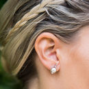 Silver And Pearl Orion Stud Earrings
